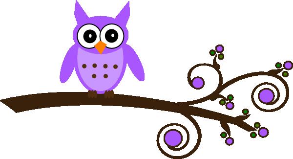 clipart transparent stock Owl on branch clip. Owls clipart purple