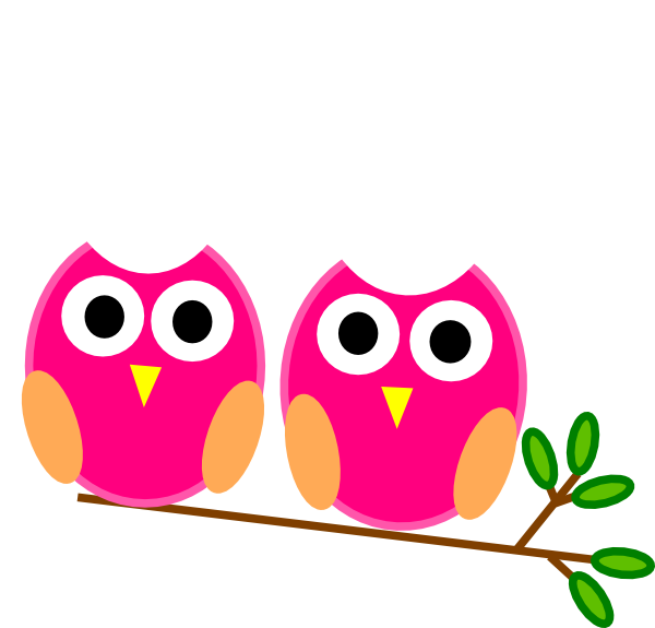 vector black and white download Pink Owls On Branch Clip Art at Clker