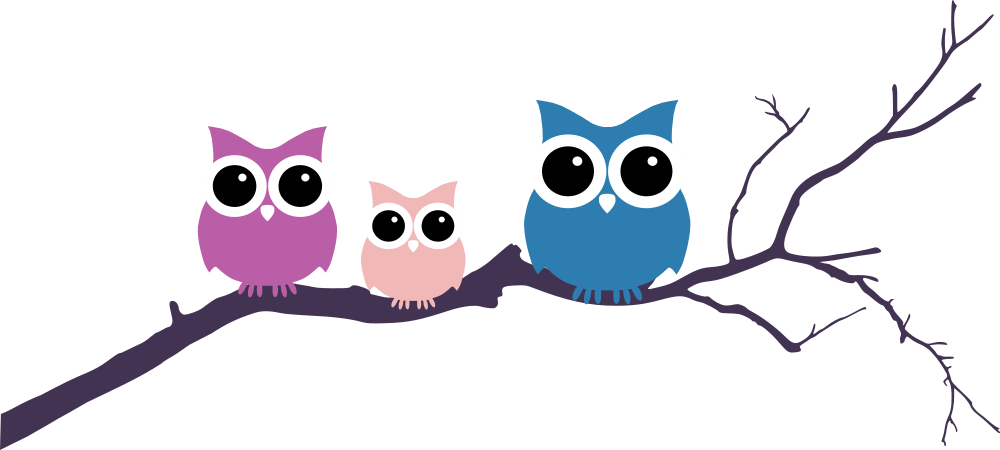 clipart library stock Three Owls Tree Branch