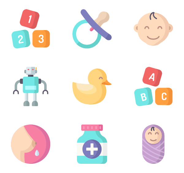 clipart royalty free library Vector baby. Pacifier icons free