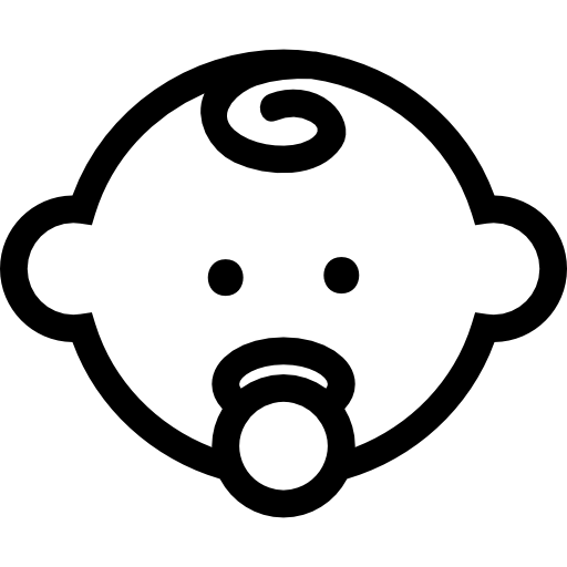 svg black and white stock Baby head outline with pacifier