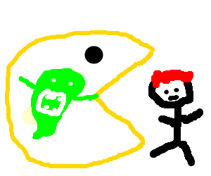 picture freeuse stock Pacman fights ginger kid after eatting slimer