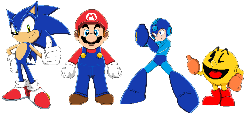 clipart stock pacman drawing mario sonic megaman #100769787