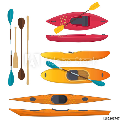 vector royalty free Set of colored sea and whitewater kayaks and paddles