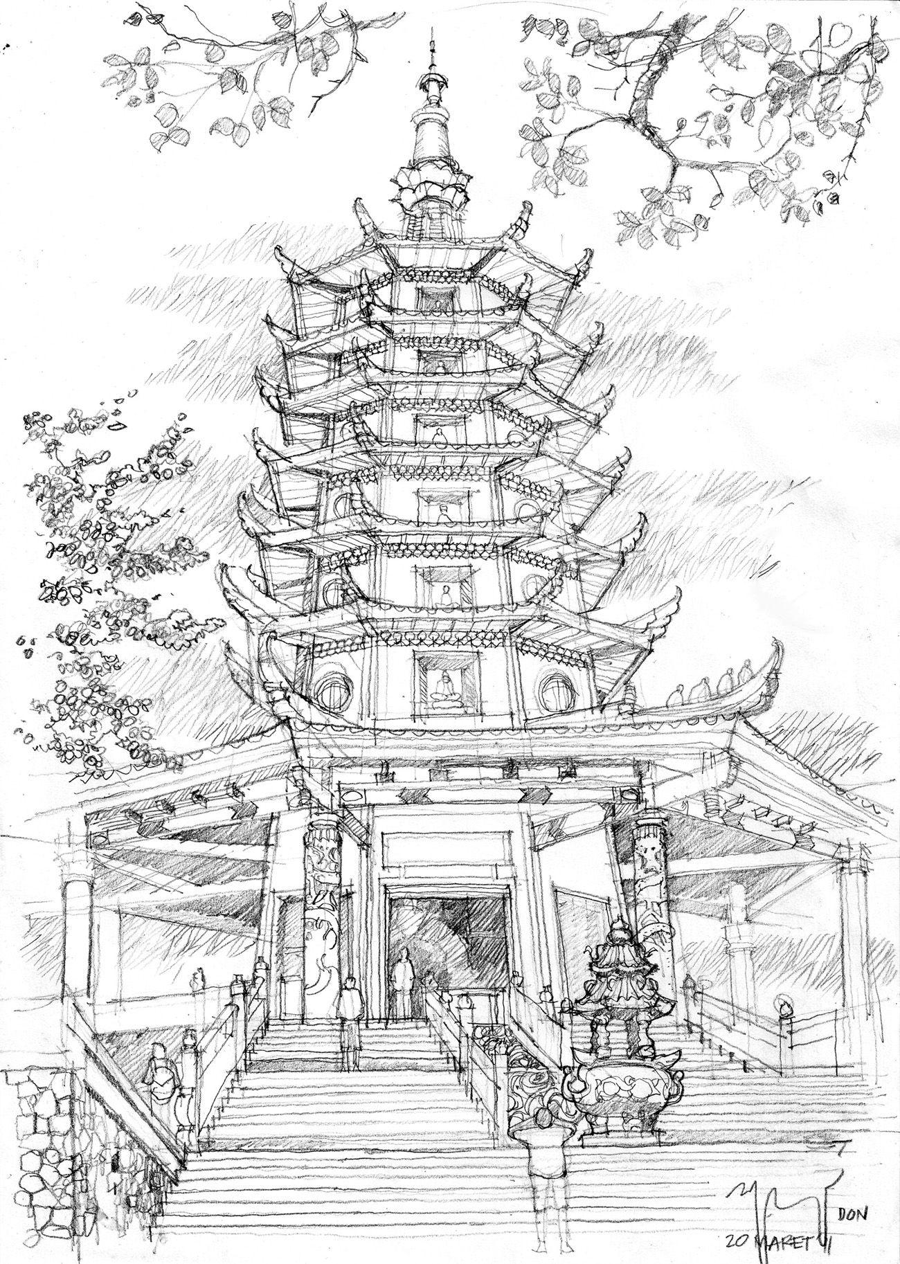 svg royalty free library Pagoda Semarang Pencil Sketch in