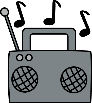 vector freeuse library Radio with Music Notes Clip Art
