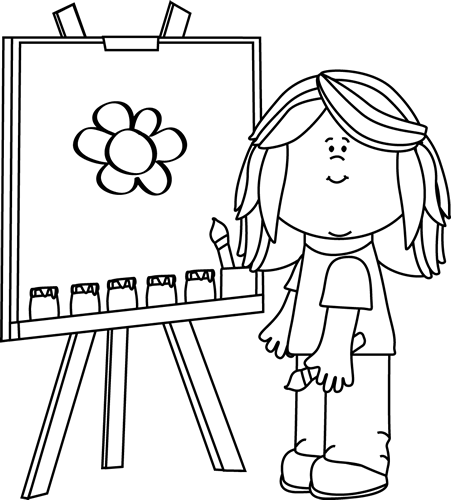 jpg library download Clipart art class. Black and white girl