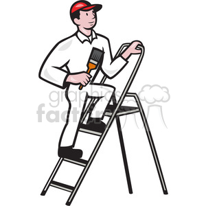 freeuse stock Royalty free . Painter on ladder clipart.