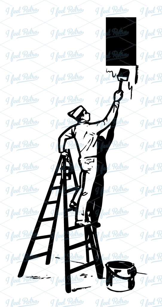 banner transparent download Painter on ladder clipart. Retro authentic vintage .