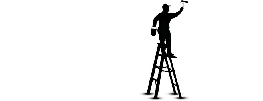 png royalty free Silhouette . Painter on ladder clipart.
