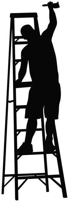 graphic free stock Houston faux finsih finish. Painter on ladder clipart.