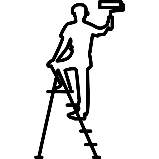 vector library library Male with roller and. Painter on ladder clipart.