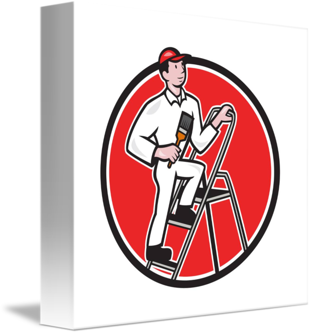 graphic freeuse stock Painter on ladder clipart. House paintbrush cartoon by.
