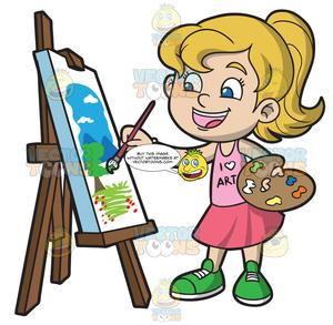 svg black and white library Painting clipart. A girl landscape