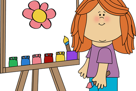 clip art royalty free stock Painting clipart. Girl
