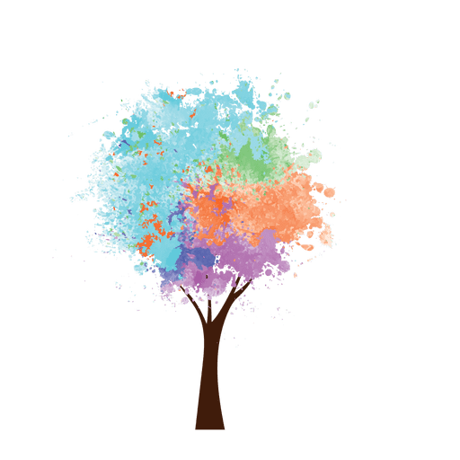picture freeuse download Oil paint colorful tree. Transparent painting