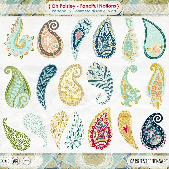 banner library Paisley clipart. Colorful bohemian clip art