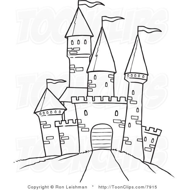 vector black and white Drawing castles. Draw castle white line