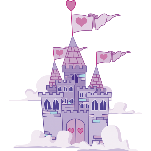 vector black and white library Castillo princesas dibujo