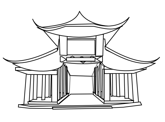 black and white  collection of chinese. Palace clipart china ancient