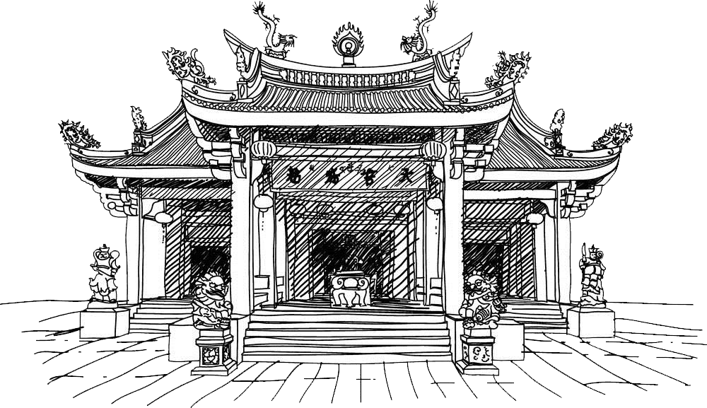 black and white stock Chinese temple clip art. Palace clipart china ancient