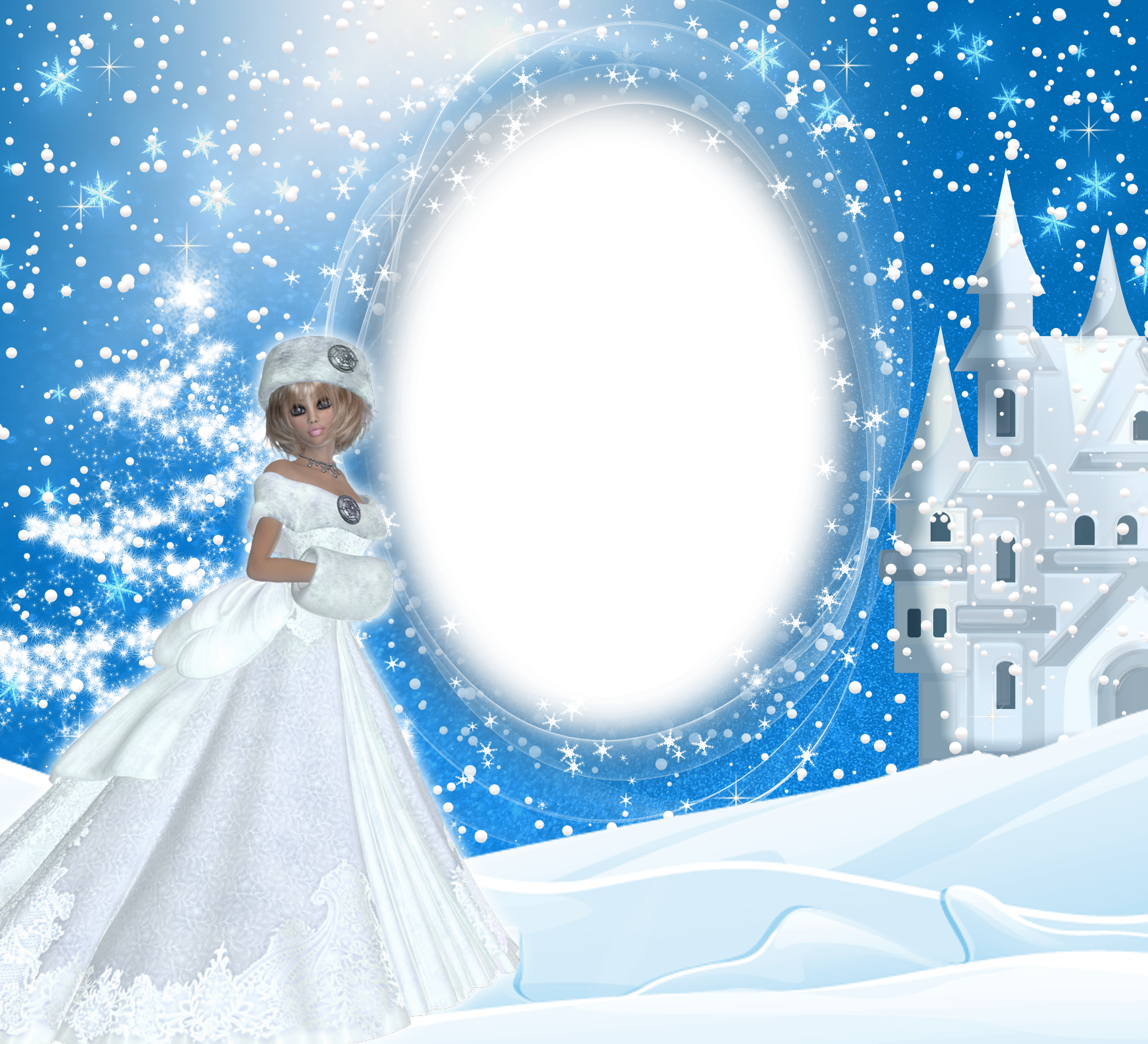 banner download Winter lady png frame. Snow borders clipart
