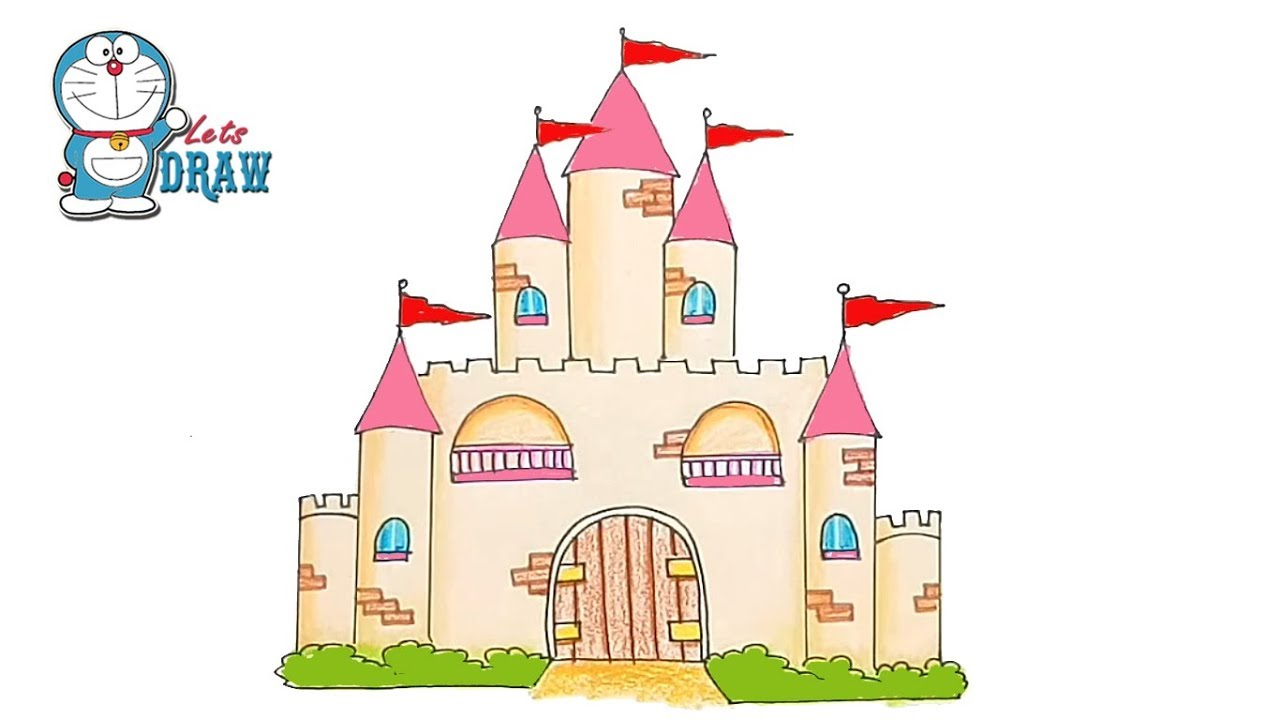 banner black and white library Palace drawing. How to draw a.