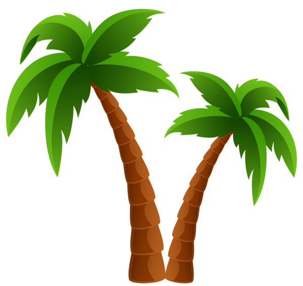 svg black and white Two Palm Trees PNG Clipart Image