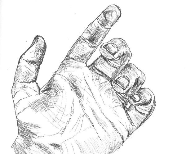 image transparent stock Palm drawing hand. Black line of the