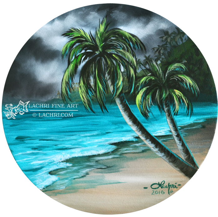 clip freeuse How to paint a beach and palm trees