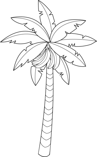 clipart  collection of banana. Trees black and white clipart