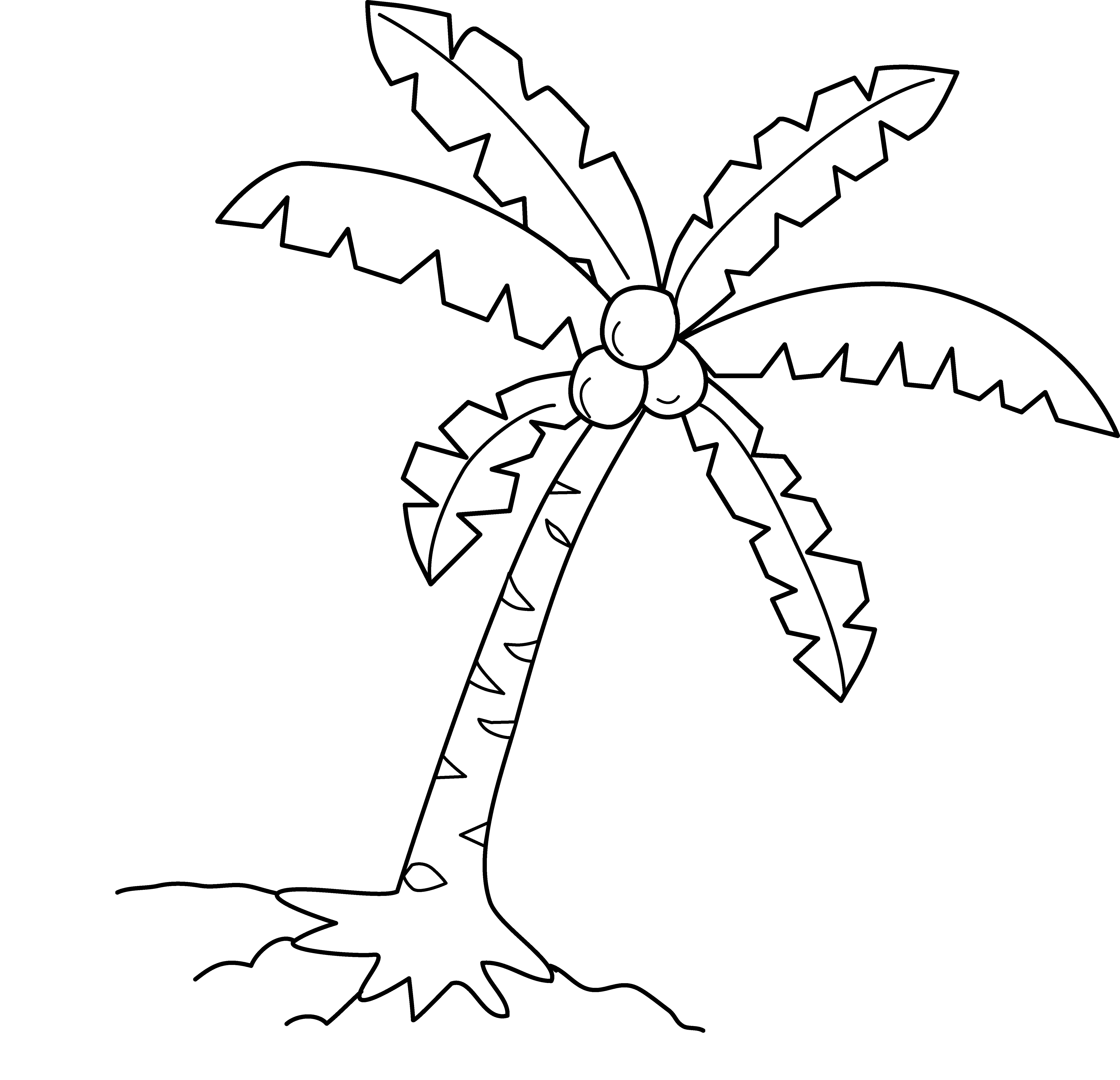 svg free library Tree drawing step by. Palm trees clipart black and white