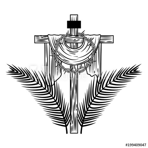 image freeuse Sacred cross crown of. Palms vector.