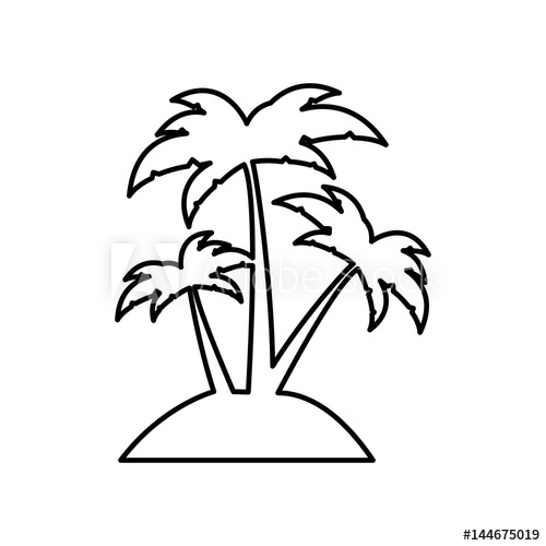 banner black and white library Silhouette island with three. Palms vector.
