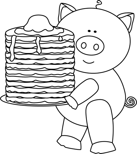clipart freeuse download Pig with clip art. Pancakes clipart black and white