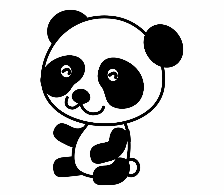 vector freeuse library Cute baby animal mammal. Panda bear clipart black and white