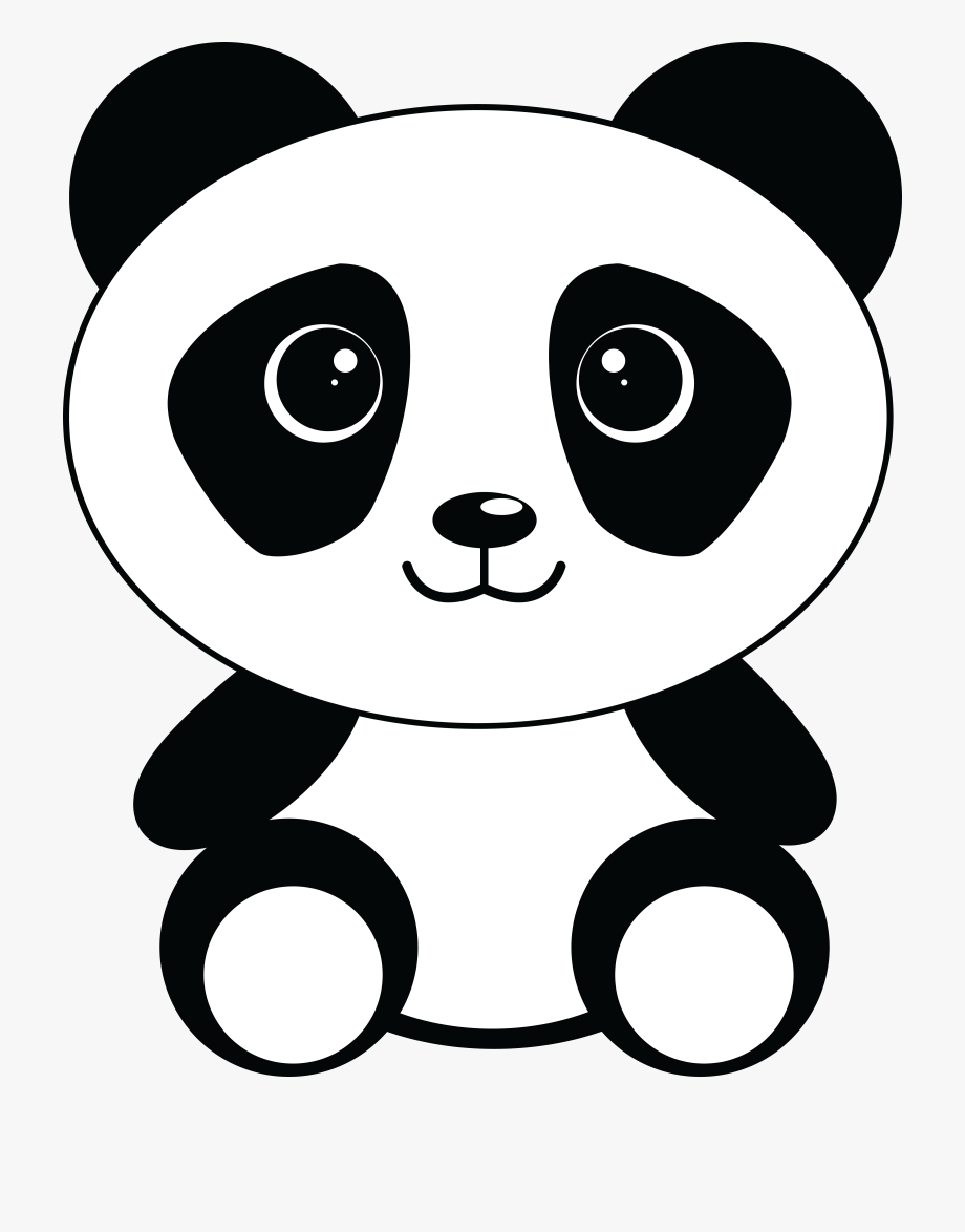 vector Panda bear clipart black and white. Download png clip art