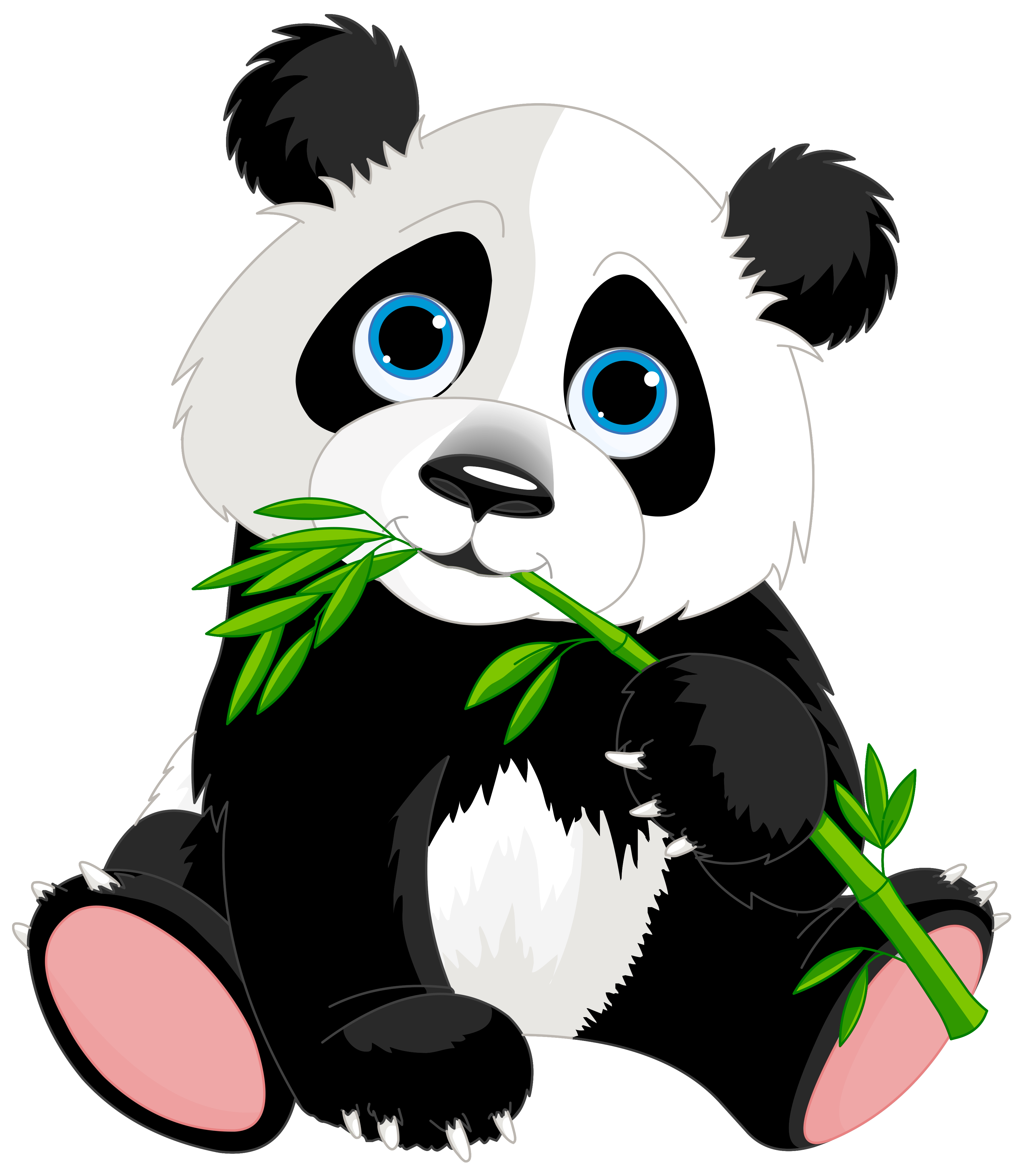 graphic black and white stock Panda png clipart image. Bamboo transparent cute cartoon