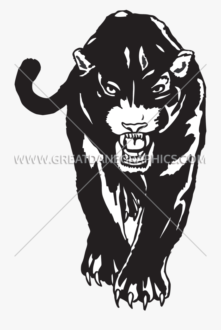 svg Line art clip . Panther walking clipart