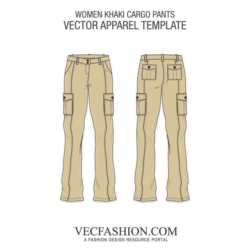 black and white Khaki cargo template vecfashion. Vector clothing dress pants