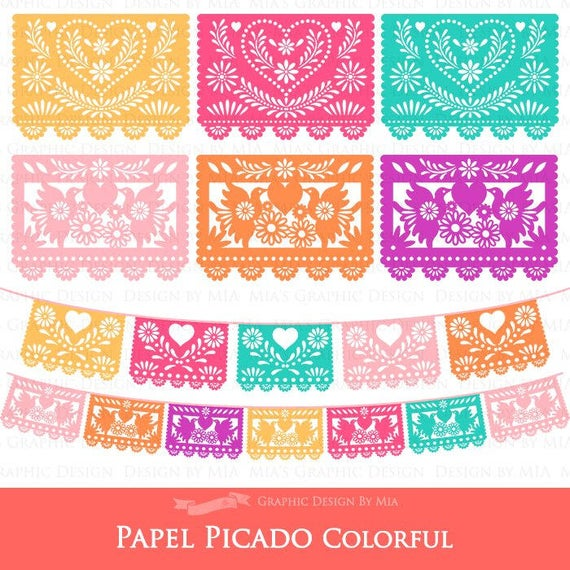 banner library library Papel picado clipart. Mexican bunting banner fiesta.
