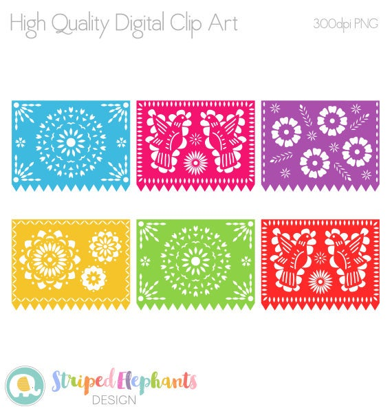 clip art transparent stock Digital fiesta mexican banners. Papel picado clipart