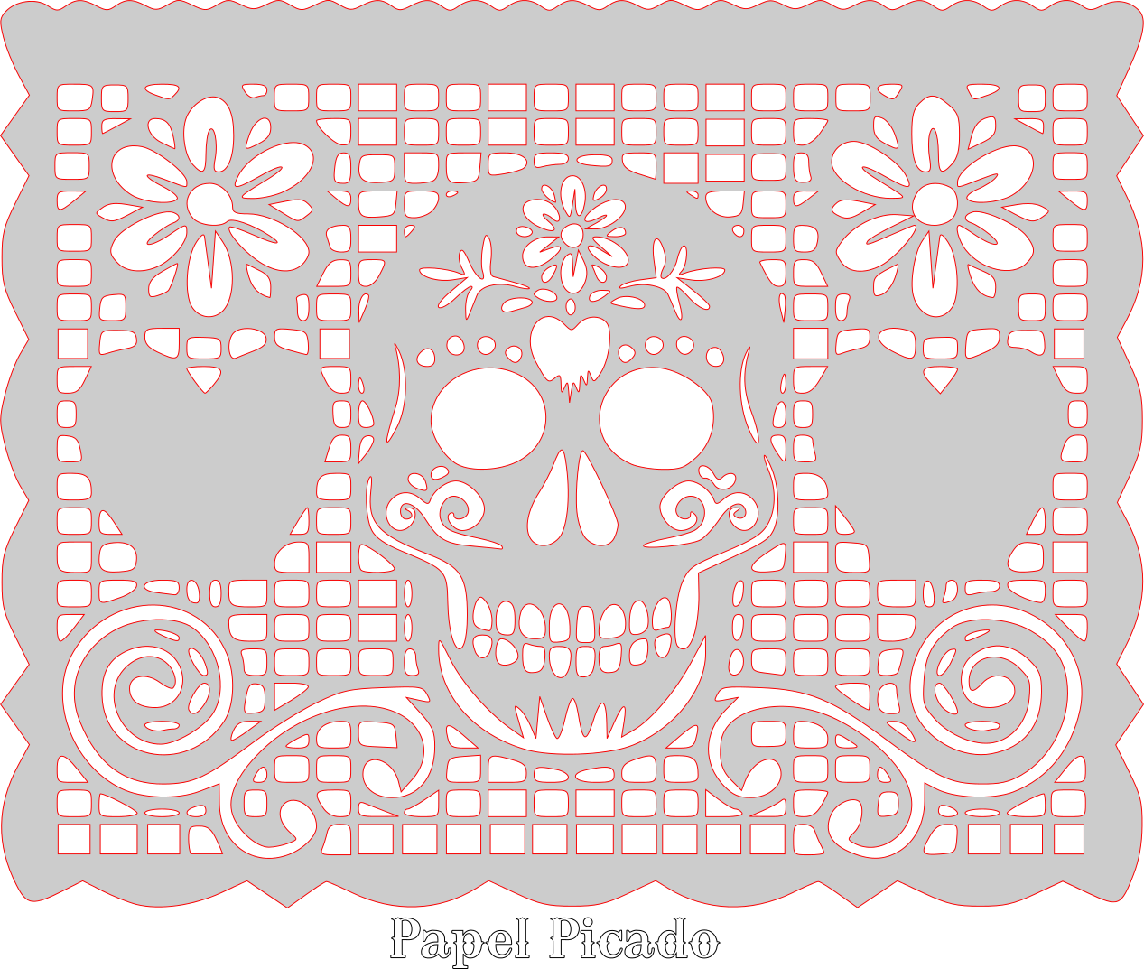 clip art black and white library Sugar skull pattern template. Papel picado clipart