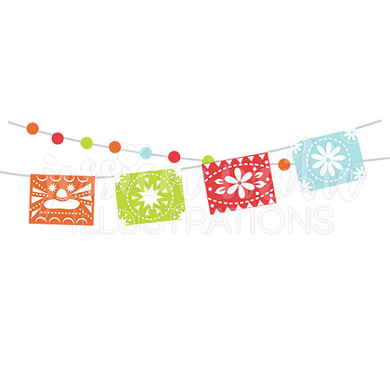 black and white Papel picado clipart digital fiesta mexican banners clip art