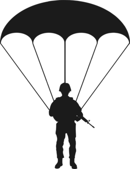 clipart freeuse download Parachute vector clipart. T parachuting silhouette skydiver