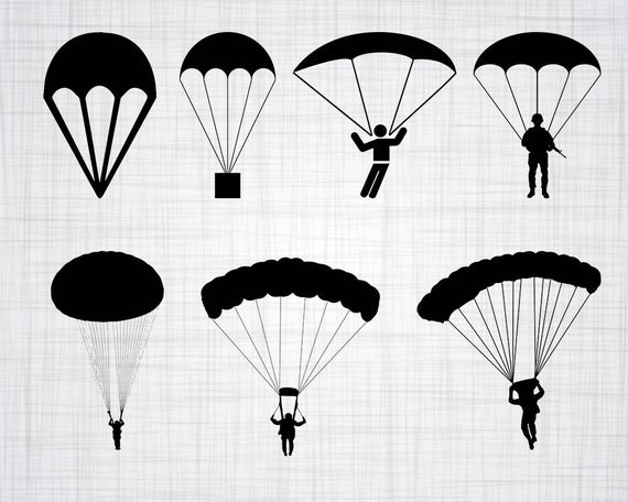picture black and white download Svg bundle cut files. Parachute vector clipart