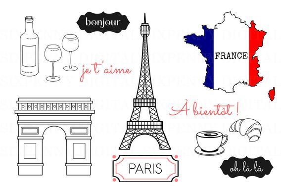 svg stock Eiffel tower arc de. Paris clipart.