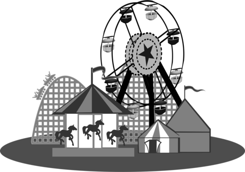 jpg transparent library Amusement park circus computer. Carnival clipart black and white