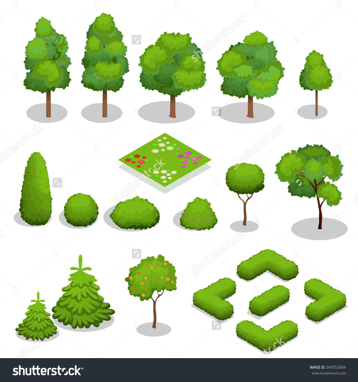 free Trees isometric flowers grass. Vector bushes illustrator
