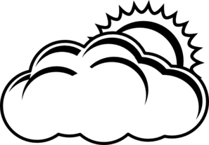 clip art free Partly black and white. Cloudy clipart outline.
